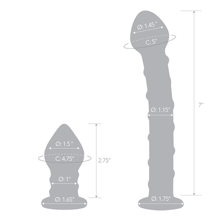 Glas - Dubbele Penetratie Glazen Swirly Dildo & Butt Plug Set Vrouwen Speeltjes