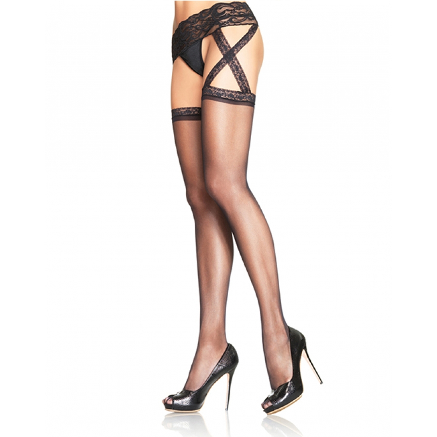 Leg Avenue - Criss Cross Garterbelt Stocking Lingerie