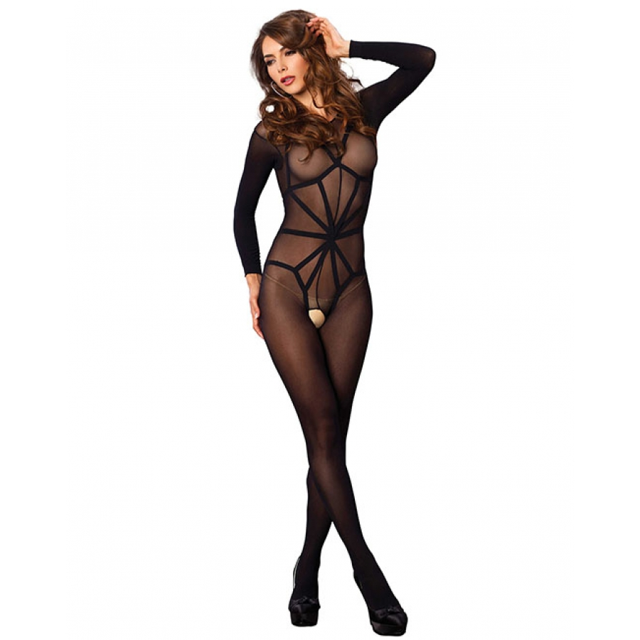 Leg Avenue - Illusion Bodystocking One Size Black Lingerie