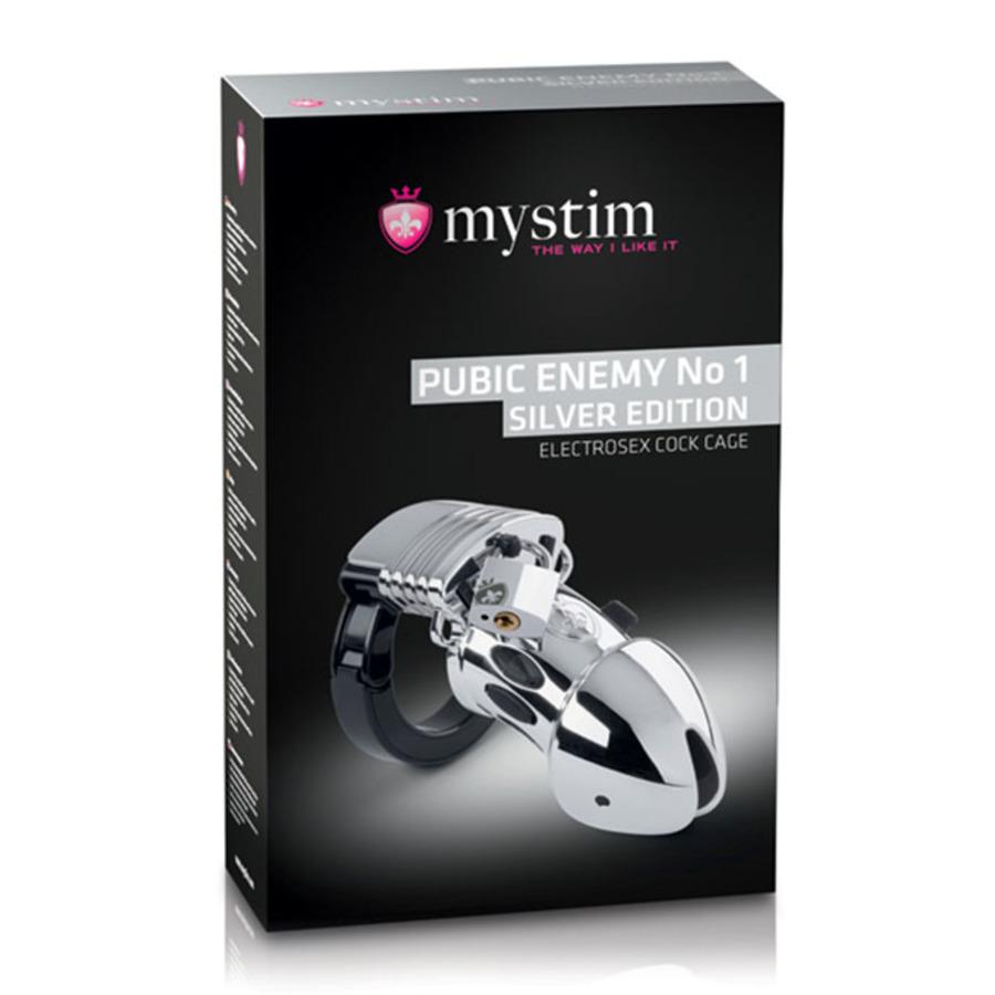 MyStim - Pubic Enemy No. 1 E-Stim Peniskooi Zilver Mannen Speeltjes