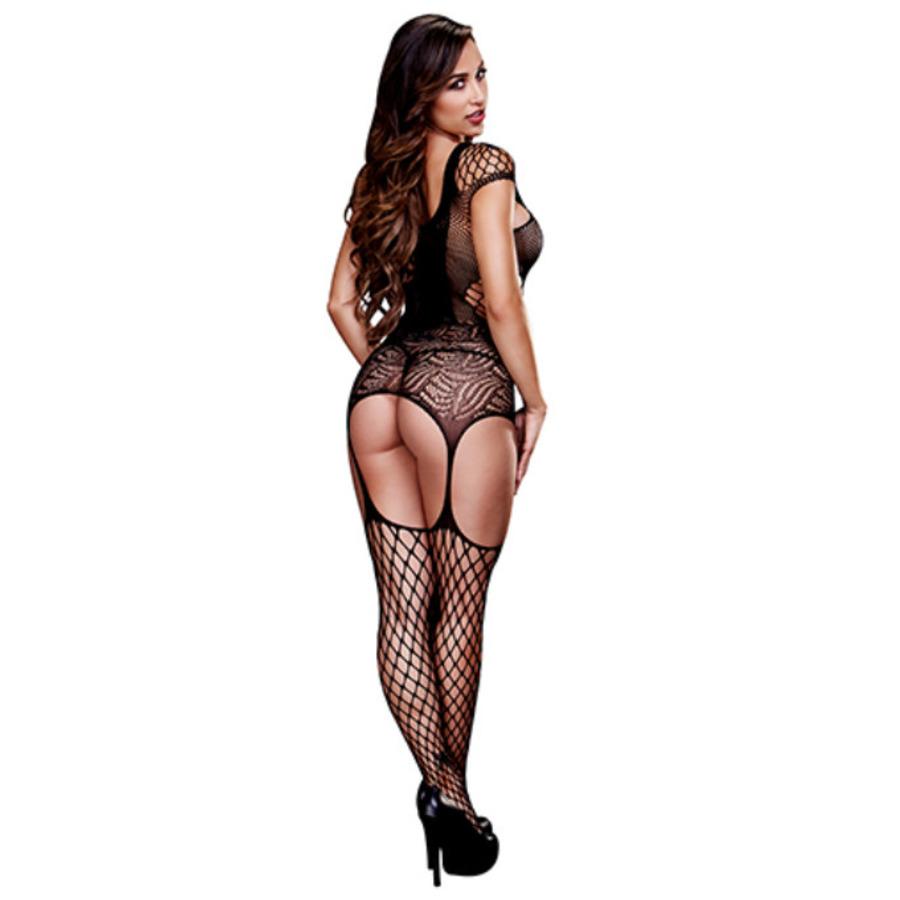 Baci - Suspender Visnet Bodysuit Met Vetersluiting Lingerie