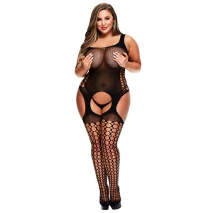 Baci - Crotchless Garter Bodystocking Lingerie