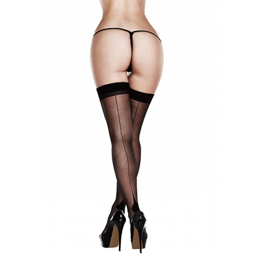 Baci - Sheer Cuban Heel Thigh Highs Lingerie