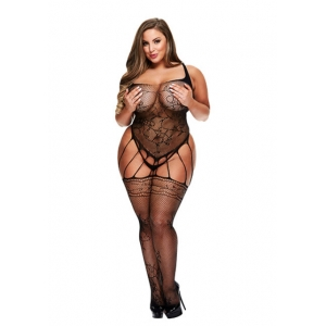 Baci - Strappy Bodystocking Met Garters Lingerie