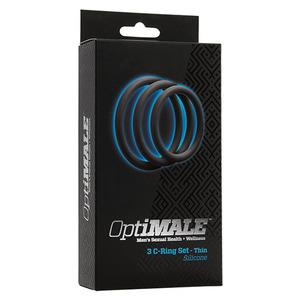 Doc Johnson - Optimale 3 C-Ring Set Thin Slate Mannen Speeltjes
