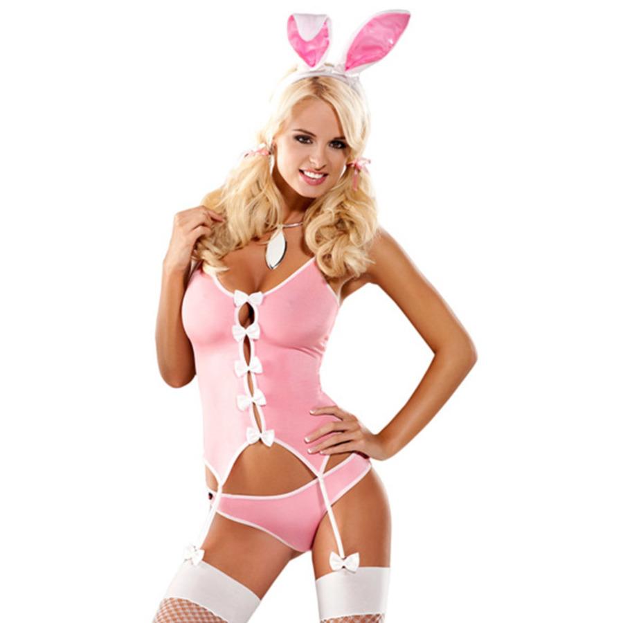 Obsessive - Bunny Suit Roze Kostuum  Lingerie
