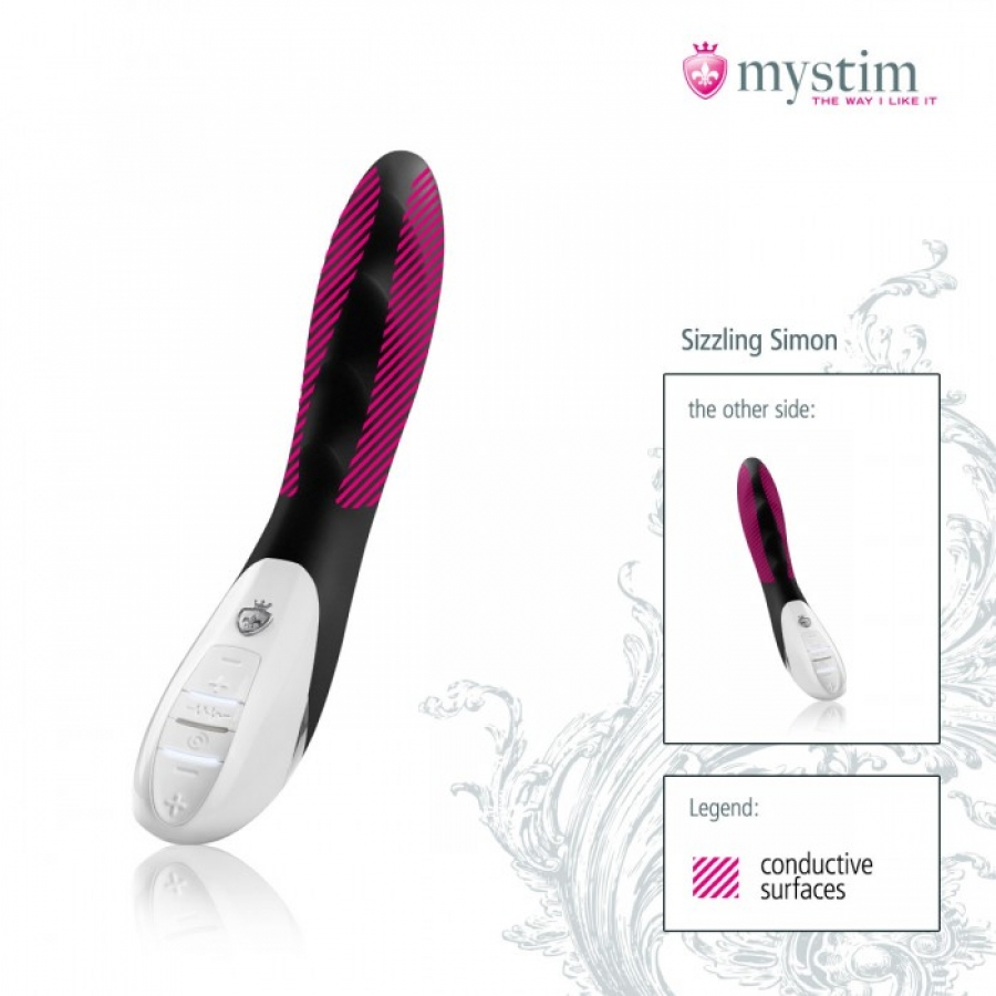 MyStim - Sizzling Simon E-Stim Vibrator Zwart Vrouwen Speeltjes