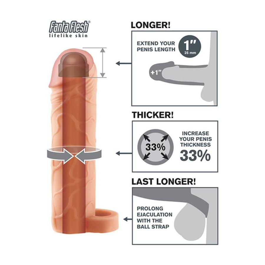 "Fantasy X-tensions - 1"" Penis Extension Sleeve met Balls Strap Mannen Speeltjes"