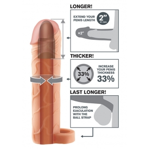 "Fantasy X-tensions - 2"" Penis Extension Sleeve met Balls Strap Mannen Speeltjes"