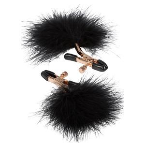Entice - Tepelklemmen Met Veren Zwart SM