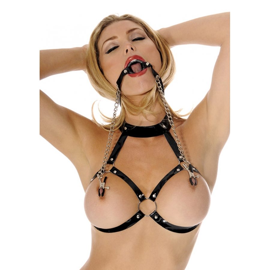 Fetish Fantasy - O-Ring Gag met Tepel Klemmen SM